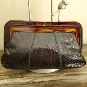 Vintage Margolm Snakeskin Bakelite Clutch